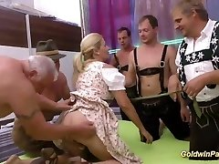 pierced stepmom lederhosen group sex