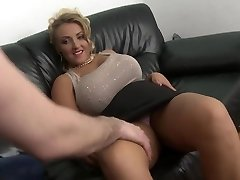 blonde cougar with big natural orbs shaved pussy fuck