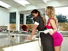 Lesbians licking cooter in the kitchen