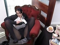 Youporn Chick Director Series: Big Boob geek damsel in pantyhose cums