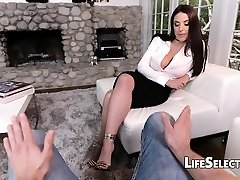 Buxomy Cougar Angela White enjoys foot fetish with her cotenant