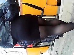 street candid teen in micro-skirt. enormous fat ass teen is afraid of upskirt !