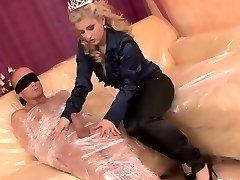 Horny blondie bitch in a CFNM activity