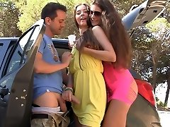 Summer party with sweet dark-haired college chicks and hard phat cocks somwhere outdoors