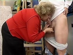 Chubby Granny in Tights Fucks the Guy