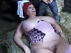 FRENCH Plumper GRANNY OLGA Pounded BY 2 MEN IN THE FARM