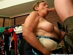 Grandma inhales a big cock