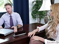 Light-haired assistant screwed brutally in the office by handsome boss
