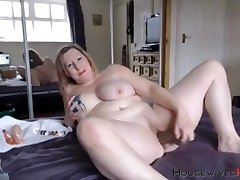 BBW mature Carmen with huge inked tits rides a faux-cock