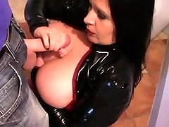 Latex Tramp in the Kitchen - Latex Blowjob Handjob - Cum on my Tits