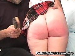 Sugary-sweet red haired schoolgirl well-prepped for some whipping