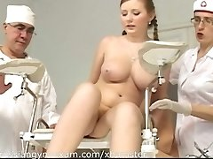 a plumpy big-boobed Russian babe on a gyno exam gets humiliated