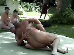 Outdoor male wrestling naked