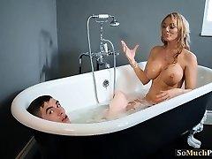 Huge bumpers Milfs enjoying threesome sex in the bathtub