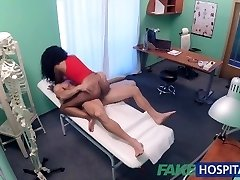 FakeHospital tight ebony pussy gets 2 cum loads from docs fat wood