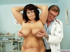 Big-boobed mature woman Daniela tits and mature pussy gyno exam