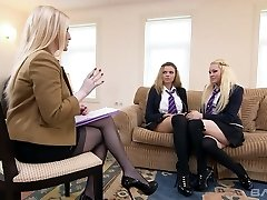 Blond college chick Marina Visconti is examining double ended faux-cock plaything with her lustful GF