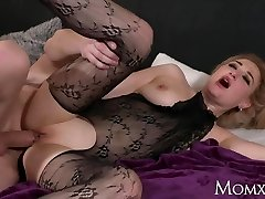 MOM Wet big tits MILF in bodystocking unloading and analingus