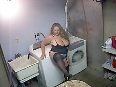 Steamy Plus-size in Heels and Lingerie Smoking Solo