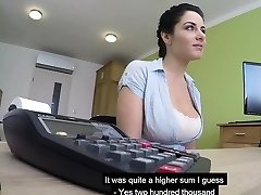 Big boobs Czech MILF gargles and porks to get her loan