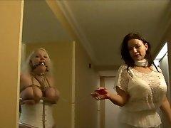 Full figured girl frogtied in white undergarments