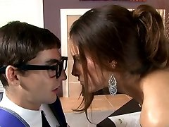 Huge-boobed raven haired sweetie blows smelly cock of her young instructor greedily