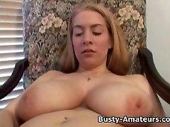 Busty amateur Calis frolicking huge dildo