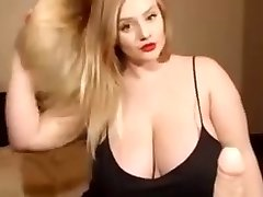 Webcam show for a cute white girl with a huge milk cans