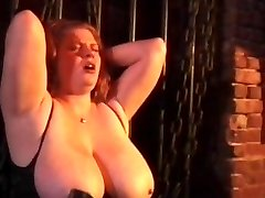 Nasty couple spanking horny tied bitch