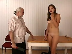 Slim sexy brunette unwraps for elderly fellow who whips her firm round ass