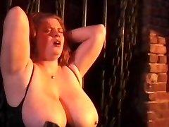 Kinky couple spanking horny tied bitch