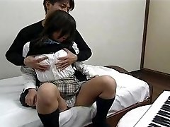 Japanese - In school uniform, drilling and swallowing