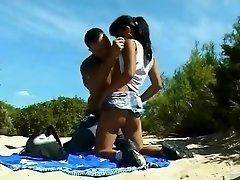 Nude Beach - Lil Tits Asian Analized & CIM Facial