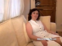 Busty mature cougar g-string tease and striptease