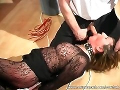 Mature bi-atch gets tied and plowed with dildo