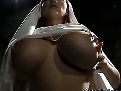 Big tits trampy nun scolds sinner