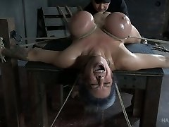 Hard tied busty honey Alyssa Lynn gets her pussy punished with electro-hitachi