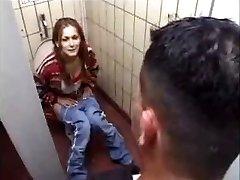German Bi-atch gets it on Toilet