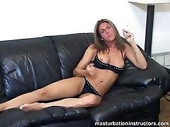 Smoking Cougar flashes tits as she longs for your shaft