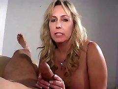 Mature ciggy smoking cock sucking grandma gets a load on her titties