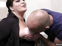 Office fuckfest with busty secretary in stocking