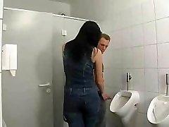 Black-haired German In Bathroom