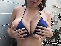 Hot brunette chinese hoe with big juggs