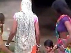 Sluts fighting for pink cigar in village
