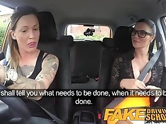 Fake Driving School Sexy strap on fun for fresh massive tits drive