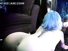 Mirror Dildo Fuck Double Penetration Blue Hair Tat Emo Cam Whore Goth HD