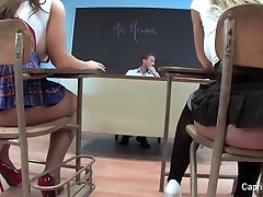 Two wild students have fun with their teacher