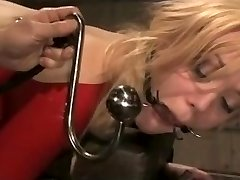Blonde BDSM Marionette in Red Latex Suit Boinked Hard.Warning:Extreme Deepthroat!