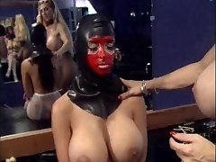 Mistress slurps marionette's cunt and puts anal beads