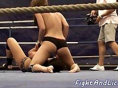 Horny lesbian babes wrestling on the floor